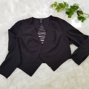 Torrid Black Open Front Cropped Blazer Jacket 2 2X